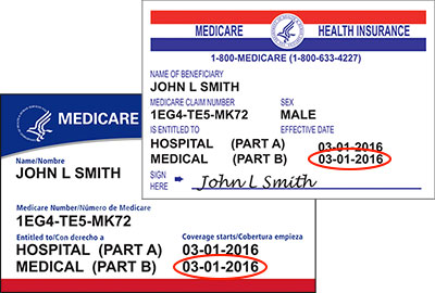 Your Medicare Part B Effective date can be found on the front of your membership card